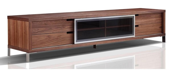 Casabianca Home Duke Walnut Veneer and Smoked Glass Entertainment Center CASA-TC-0135-WAL