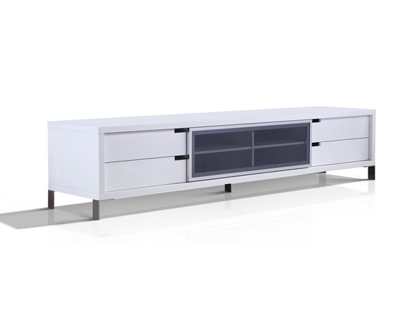 Casabianca Home Duke White Smoked Gray High Polished Stainless Steel Entertainment Center CASA-TC-0135-WH
