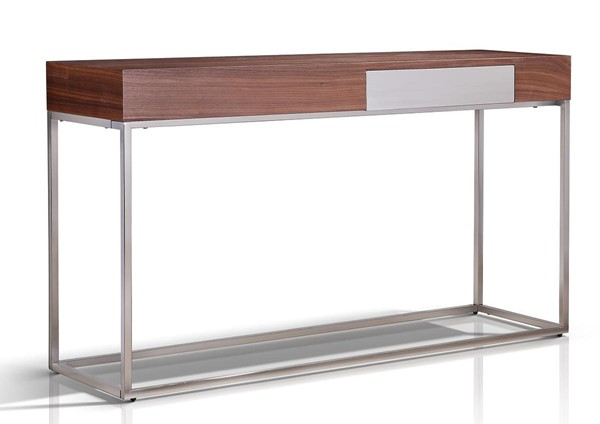 Casabianca Home Giga Walnut Veneer and High Polished Stainless Steel Console Table CASA-TC-0166-WAL