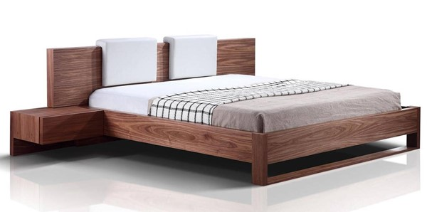 Casabianca Home Bay Walnut Veneer and Two Removable PU Leather White Pillows Queen Bed CASA-TC-0197-Q-WAL