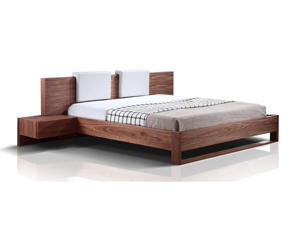 Casabianca Bay Walnut Queen Bed with built in Night Stand and 2 Removable White Headrest CASA-TC-0197-Q-WAL