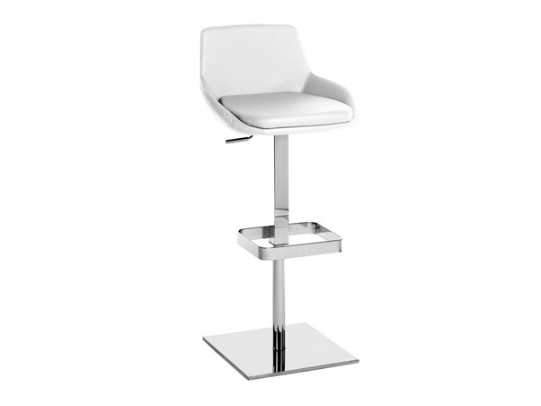 Casabianca Home Laura White PU Leather and Chrome Plated Bar Stool CASA-TC-2001-WH-BAR