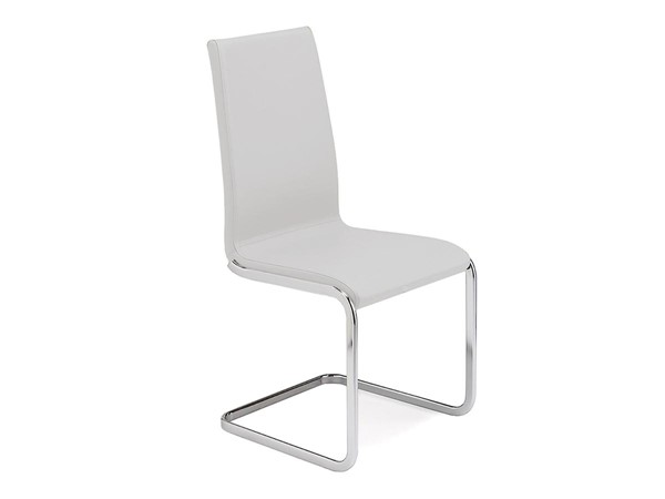 Casabianca Home Aurora White Leather and Chrome Plated Base Dining Chair CASA-TC-2020-WH