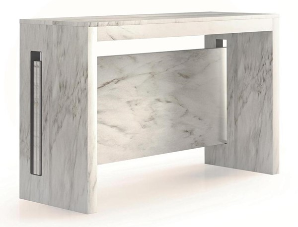 Casabianca Home Erika White Marbled Grain Melamine Console Table CASA-TC-540B-CA