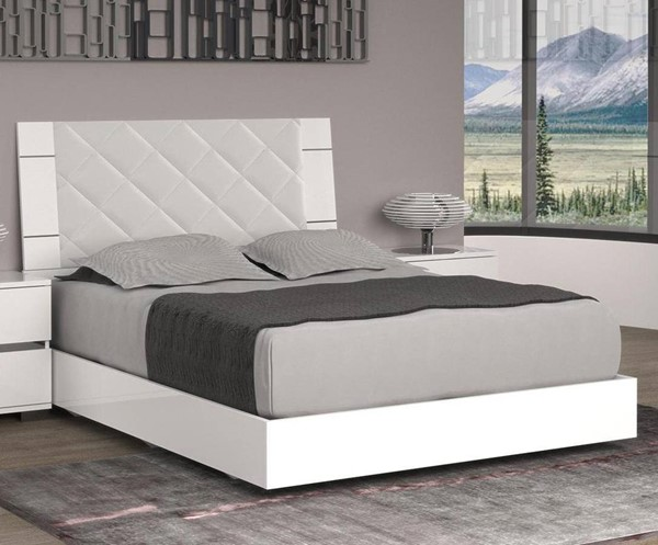 Casabianca Home Diamanti White Chrome Plated King Bed CASA-TC-9001-KW