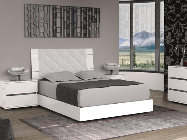 Casabianca Diamanti Light Gray White Eco Leather Upholstered Headboard Queen Bed CASA-TC-9001-QW