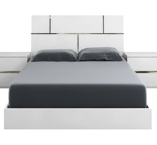 Casabianca Home Pisa White Melamine and Chrome Plated King Bed CASA-TC-9002-KW