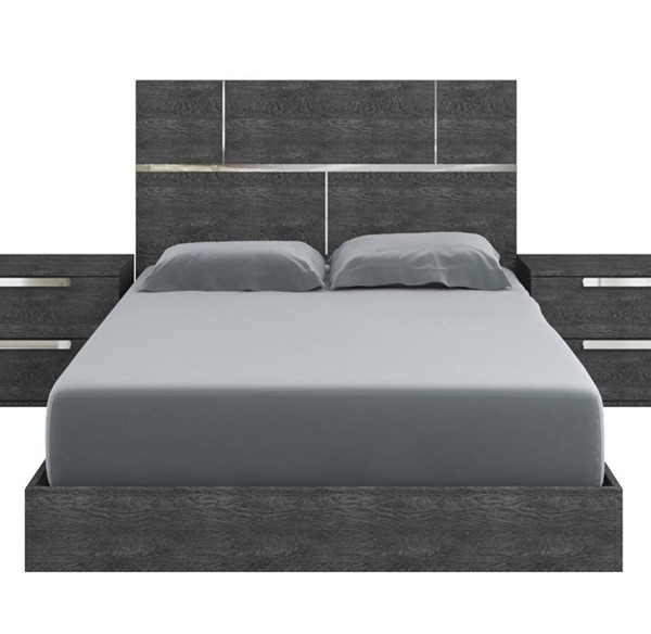 Casabianca Home Milo Dark Gray Marble and Chrome Plated King Bed CASA-TC-9005-KG