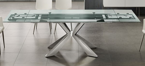 Casabianca Home Icon Clear Glass and Polished Stainless Steel Base Dining Table CASA-TC-MAN01CLR