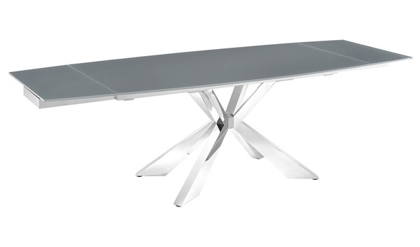 Casabianca Home Icon Gray Glass and Polished Stainless Steel Base Dining Table CASA-TC-MAN01GRY