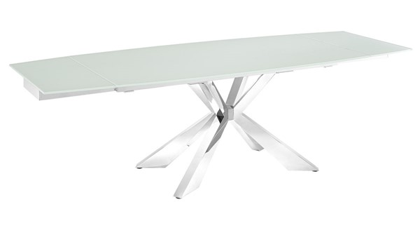 Casabianca Home Icon White Glass and High Polished Stainless Steel Dining Table CASA-TC-MAN01WHT