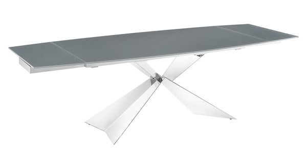 Casabianca Home Carrara Gray Glass High Polished Stainless Steel Dining Table CASA-TC-MAN02GRY
