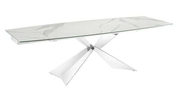 Casabianca Home Carrara White Marbled High Polished Stainless Steel Dining Table CASA-TC-MAN02MAR