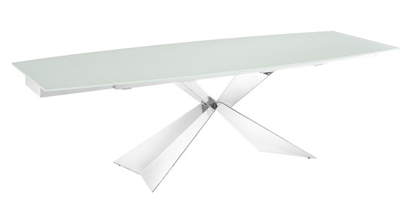 Casabianca Home Carrara White Glass High Polished Stainless Steel Dining Table CASA-TC-MAN02WHT