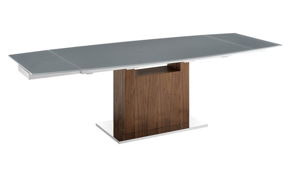 Casabianca Home Olivia Gray Glass High Polished Stainless Steel Dining Table CASA-TC-MAN03WALGRY