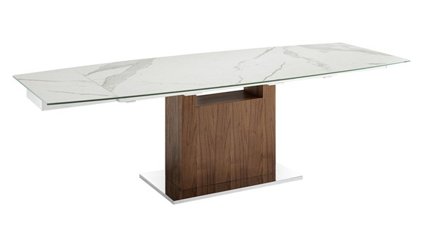 Casabianca Home Olivia White Marbled and High Polished Stainless Steel Dining Table CASA-TC-MAN03WALMAR
