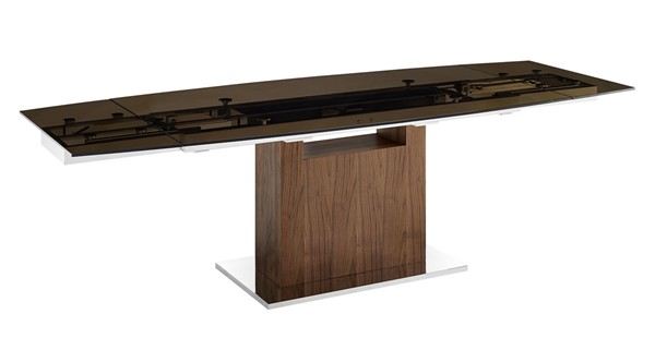 Casabianca Home Olivia Smoked Brown Glass and High Polished Stainless Steel Dining Table CASA-TC-MAN03WALSMK