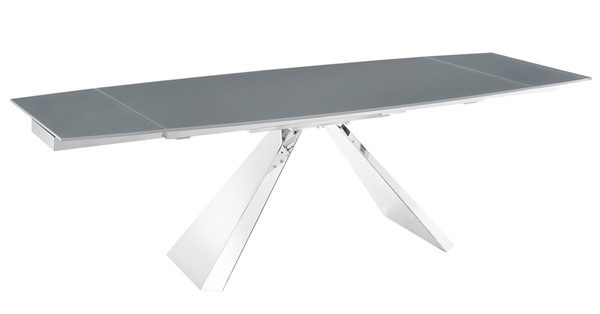 Casabianca Home Stanza Dark Gray Glass and High Polished Stainless Steel Dining Table CASA-TC-MAN04GRY