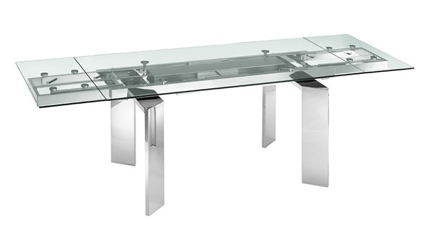 Casabianca Home Astor Clear Glass High Polished Stainless Steel Dining Table CASA-TC-MAN05CLR