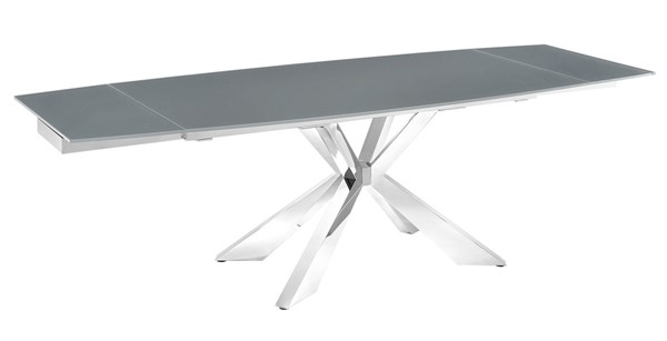 Casabianca Home Icon Gray Glass and Polished Stainless Steel Base Motorized Dining Table CASA-TC-MT01GRY