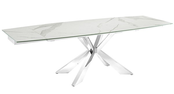 Casabianca Home Icon White Marbled High Polished Stainless Steel Motorized Dining Table CASA-TC-MT01MAR