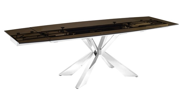 Casabianca Home Icon Smoked Brown Glass and High Polished Stainless Steel Motorized Dining Table CASA-TC-MT01SMK