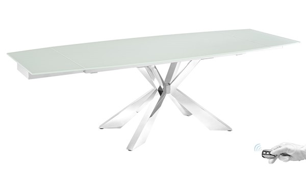 Casabianca Home Icon Glass and Polished Stainless Steel Base Motorized Dining Tables CASA-TC-MT01-DT-VAR