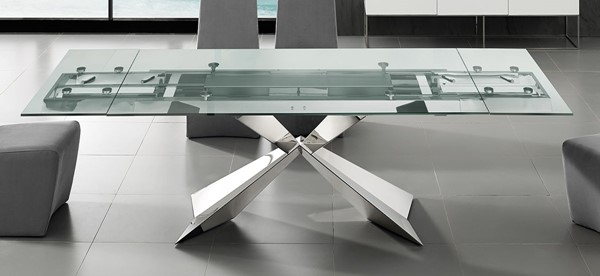 Casabianca Home Carrara Clear Glass High Polished Stainless Steel Motorized Dining Table CASA-TC-MT02CLR