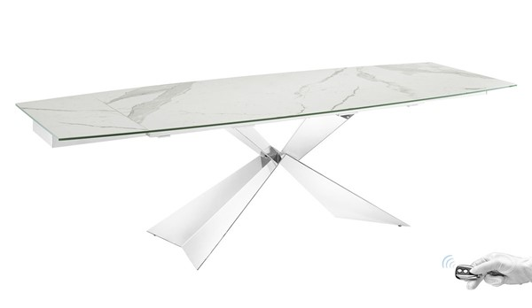 Casabianca Home Carrara White Porcelain High Polished Stainless Steel Motorized Dining Table CASA-TC-MT02MAR