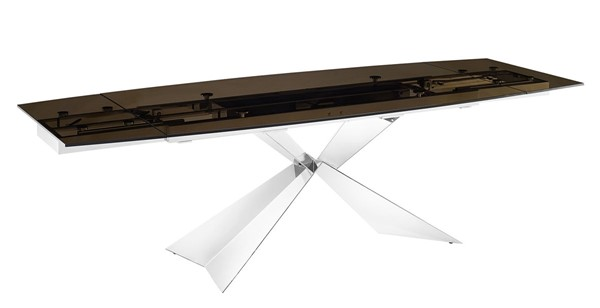 Casabianca Home Carrara Smoked Brown Glass High Polished Stainless Steel Motorized Dining Table CASA-TC-MT02SMK