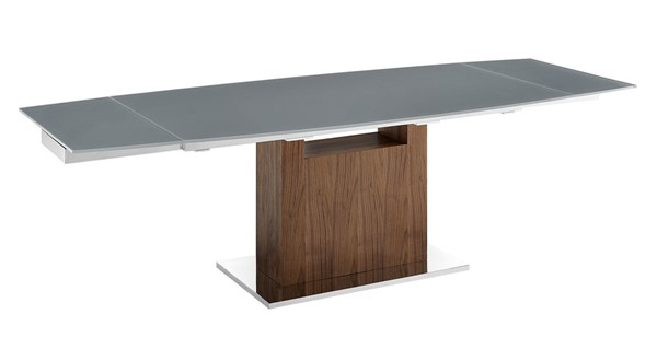 Casabianca Home Olivia Gray Glass and High Polished Stainless Steel Motorized Dining Table CASA-TC-MT03WALGRY
