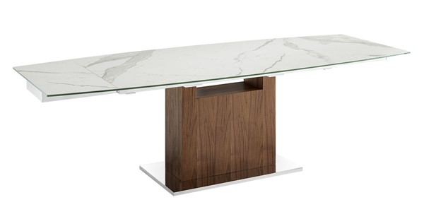 Casabianca Home Olivia White Marbled and High Polished Stainless Steel Motorized Dining Table CASA-TC-MT03WALMAR