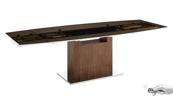 Casabianca Home Olivia Smoked Glass Brown Veneer Base Motorized Dining Table CASA-TC-MT03WALSMK