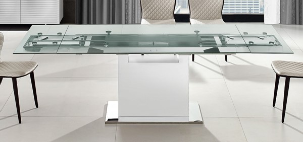 Casabianca Home Olivia Glass White Lacquer Motorized Dining Tables CASA-TC-MT03WHT-DT-VAR