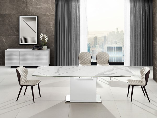 Casabianca Home Olivia White Marble and Glass Top Motorized 7pc Dining Room Set CASA-TC-MT03WHT-DR-S2