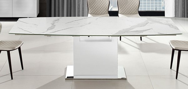 Casabianca Home Olivia White Marble and Glass Top Motorized Dining Table CASA-TC-MT03WHTMAR