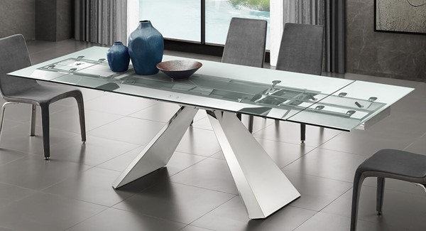 Casabianca Home Stanza Clear Glass and High Polished Stainless Steel Motorized Dining Table CASA-TC-MT04CLR