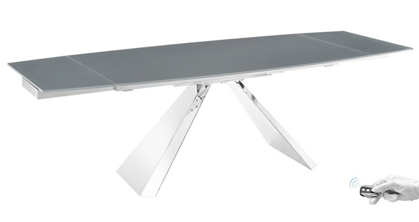 Casabianca Home Stanza Glass and Polished Stainless Steel Motorized Dining Tables CASA-TC-MT04-DT-VAR