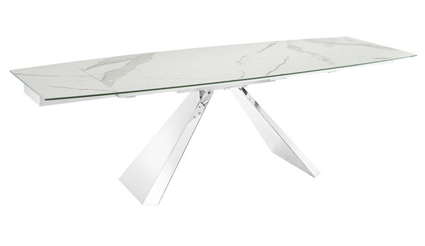 Casabianca Home Stanza White and High Polished Stainless Steel Motorized Dining Table CASA-TC-MT04MAR
