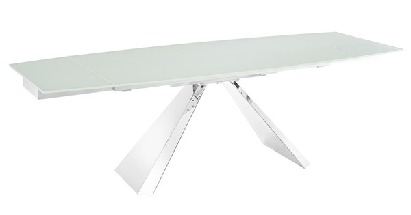 Casabianca Home Stanza White Glass and High Polished Stainless Steel Motorized Dining Table CASA-TC-MT04WHT