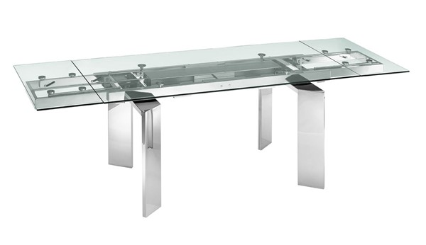 Casabianca Home Astor Clear Glass Motorized Dining Table CASA-TC-MT05CLR