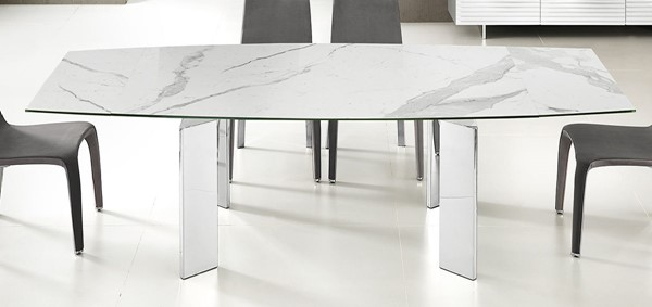 Casabianca Home Astor White Marbled High Polished Stainless Steel Motorized Dining Table CASA-TC-MT05MAR