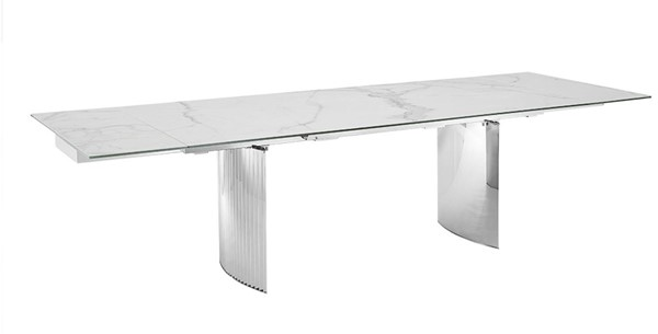 Casabianca Home Allegra White Marbled High Polished Stainless Steel XL Motorized Dining Table CASA-TC-MTXL06MAR