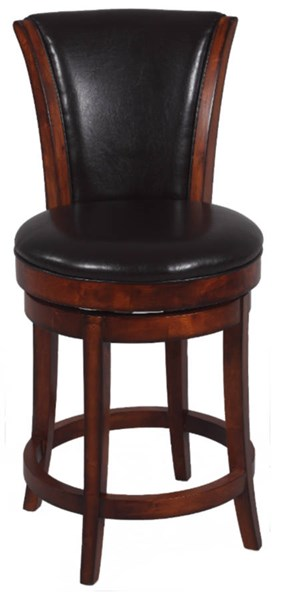Brown Wood 26 Inch Swivel Solid Birch Upholstered Back Counter Stool CHF-0239-CS