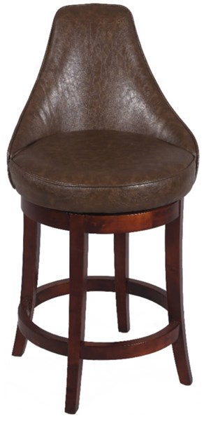 Wenge Bonded Leather Wood 30 Inch Swivel Solid Birch Bar Stool CHF-0290-BS