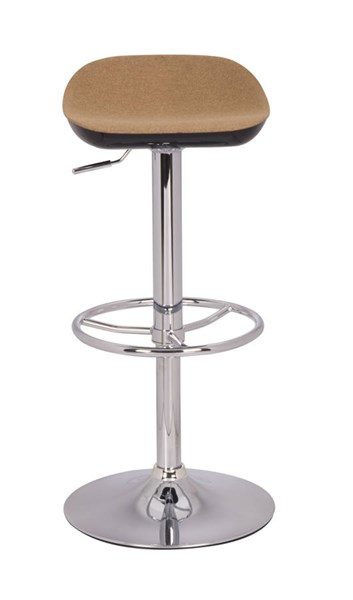 Modern Chrome Camel Fabric Two Tones Backless Adjustable Stool CHF-0324-AS-CML