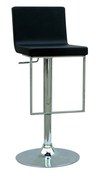 Black PU Pneumatic Gas Lift Adjustable Height Swivel Stool w/Foot Rest CHF-0351-AS-BLK
