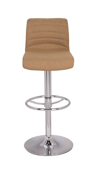Modern Chrome Camel PU Stitched Back Pneumatic Gas Lift Stool CHF-0352-AS-CML