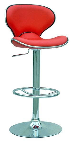 Contemporary Red PU Pneumatic Gas Lift Adjustable Height Swivel Stool CHF-0364-AS-RED