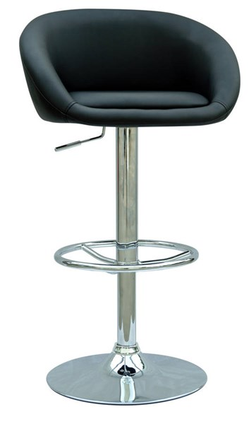 Black PU Solid Back Pneumatic Gas Lift Adjustable Height Swivel Stool CHF-0380-AS-BLK